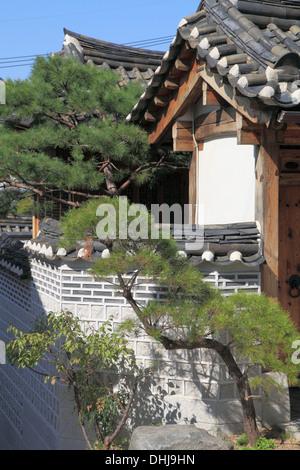 La Corée du Sud, Séoul, le village de Bukchon Hanok, maison traditionnelle, Banque D'Images