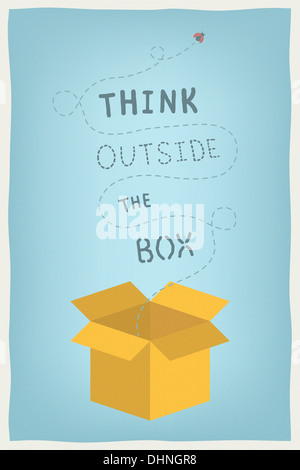 Concept illustration moderne de la motivation et de la pensée positive et l'esprit créatif avec dessinés à la main, Banque D'Images