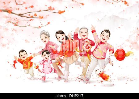 Grande famille célébrant le Nouvel An chinois Banque D'Images