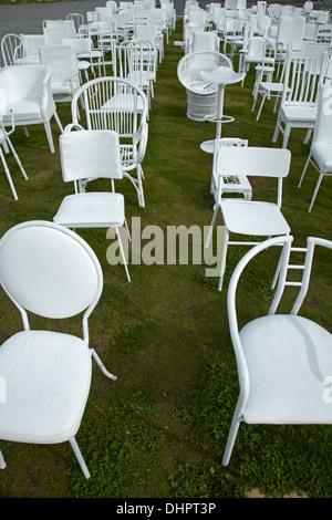 185 chaises vides mémorial pour les victimes du tremblement de terre 2011, Christchurch, Canterbury, île du Sud, Banque D'Images
