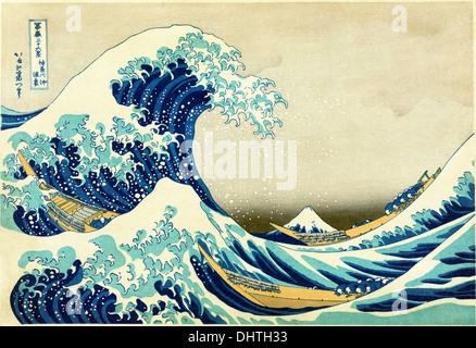 La grande vague de Kanagawa - par Katsushika Hokusai, 1829 Banque D'Images