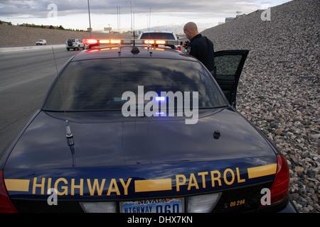 La Police d'État du Nevada State Trooper, agent de la patrouille routière, Las Vegas, Nevada, USA Banque D'Images