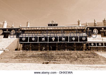 Drepung à Lhassa Tibet Chine sépia Banque D'Images