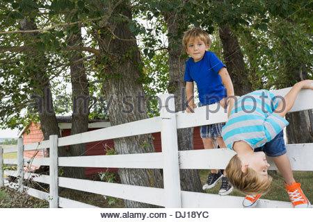 Les garçons ludique d'escalade sur une clôture Banque D'Images