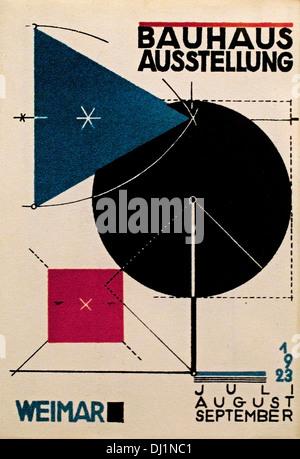 Carte postale pour l'exposition du Bauhaus à Weimar, en Allemagne 1923 par Herbert Bayer German Banque D'Images