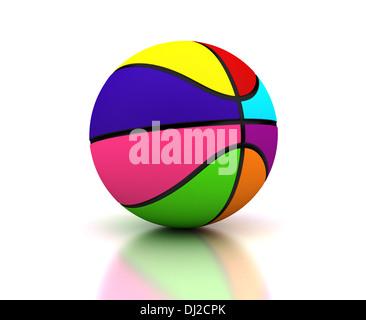 Basket-ball colorés sur fond blanc (image générée par ordinateur) Banque D'Images