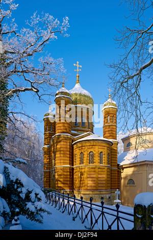 Chapelle Orthodoxe russe dans le cimetière historique, Weimar, Thuringe Banque D'Images
