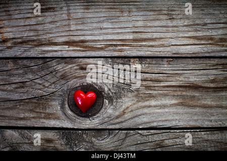 Valentines Day background avec coeur sur un bureau en bois Banque D'Images