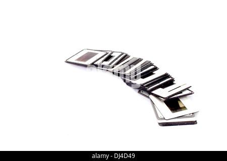 Rangée de diapositives avec bordure en plastique noir et blanc Banque D'Images