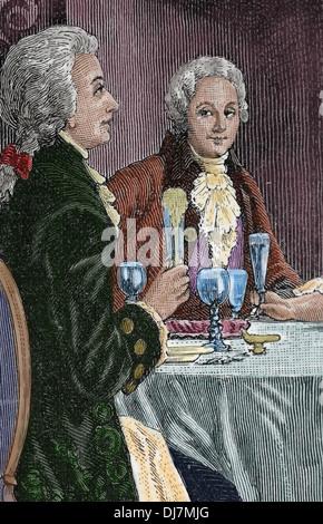 Banquet en l'honneur Mozart. Compositeur Wolfgang Amadeus Mozart (1756-1791) et le compositeur italien Antonio Salieri Banque D'Images