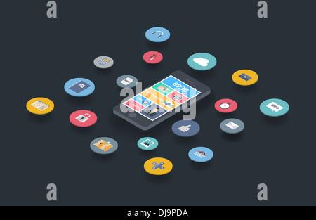 Illustration notion de variété à l'aide du smartphone avec beaucoup d'Icônes multimédia et élégante interface utilisateur Banque D'Images