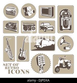 Ensemble de différentes icônes rétro Banque D'Images