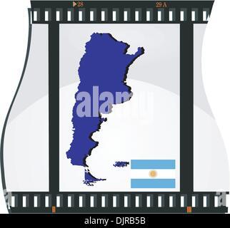 Filmer avec une carte nationale de l'Argentine Banque D'Images