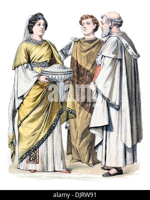6ème siècle VI 500s'Empire romain de Byzance et Dame prêtre chrétien Banque D'Images