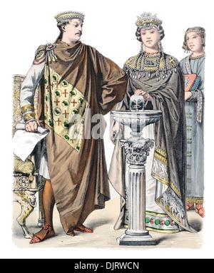 6ème siècle VI 500s Byzance est de l'Empire romain, l'empereur Justinien avec l'impératrice Théodora Banque D'Images