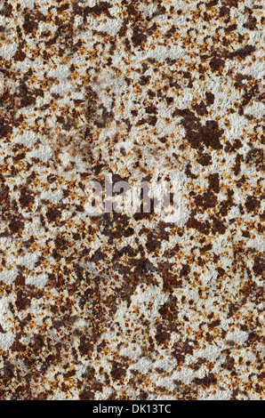 Rusty Weathered White Brown Texture Plaque Métal Banque D'Images