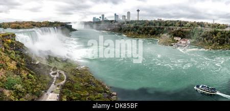 NIAGARA, NY - panorama haute résolution de l'American Falls à Niagara Falls sur la rivière Niagara, à la frontière Banque D'Images