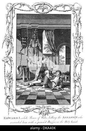 Le roi Édouard Ier d'Angleterre alors que prince de Galles tue l'assassin qui lui blessé avec un poignard empoisonné Banque D'Images