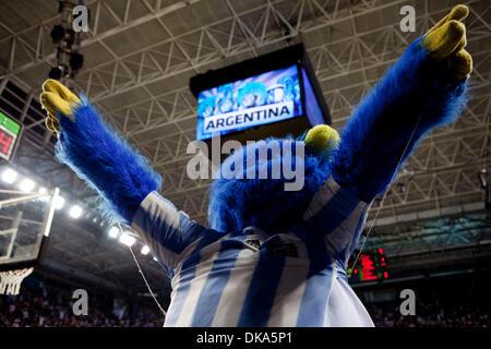 11 septembre 2011 - Mar del Plata, Buenos Aires, Argentine - Jay Jay la mascot exhorte les fans à faire plus de Banque D'Images