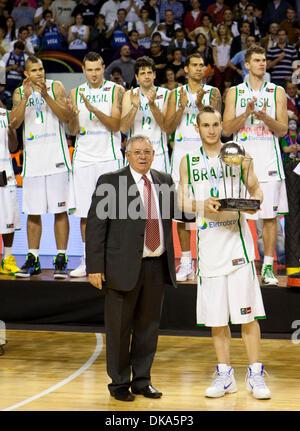 11 septembre 2011 - Mar del Plata, Buenos Aires, Argentine - Brésil, MARCELO HUERTAS TIEPPO avec le deuxième trophée. Banque D'Images