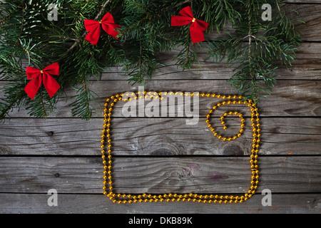 Cadre doré pour les voeux de Noël Banque D'Images