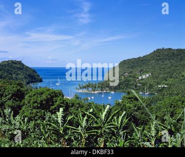 Hurricane Hole, Marigot Bay, Sainte-Lucie, Caraïbes, Antilles Banque D'Images