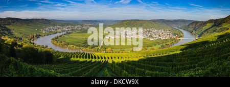 Coude de la Moselle avec les villages Traben-trarbach et Soye, dans l'ouest de l'Allemagne. Banque D'Images