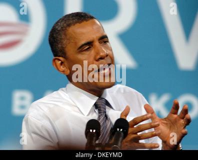 Le président américain Barack Obama s'adresse à la foule à Cashmen Centre au cours d'un voyage à Las Vegas Valley Banque D'Images