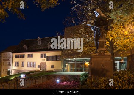Maison de Bach avec musée Bach et bach memorial en lumière du soir, la ville d'Eisenach, en Thuringe, Allemagne, Banque D'Images