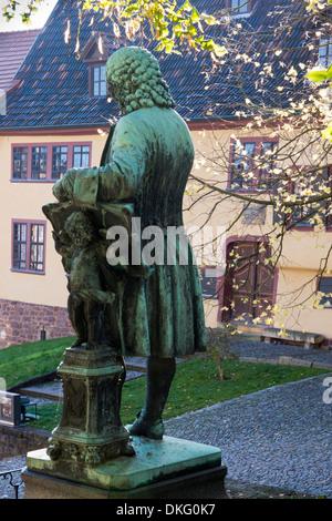 Maison de Bach avec bach memorial en automne, la lumière de la ville d'Eisenach, en Thuringe, Allemagne, Europe Banque D'Images