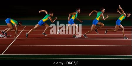 L'exposition de plusieurs jeune femme en séquence de sprint