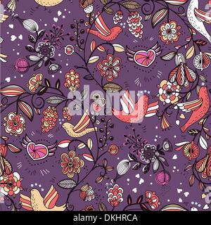Vector floral pattern transparente avec les oiseaux, coeurs et fleurs Banque D'Images