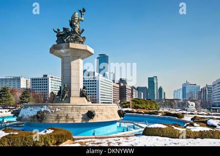 Séoul, Corée du paysage urbain à partir de l'édifice du Parlement. Banque D'Images