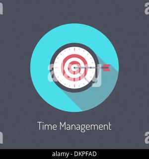 Modèle plat illustration moderne poster concept de processus de planification de gestion du temps et d'affaires Banque D'Images