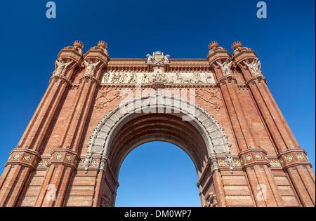 Arc de Triomf, Barcelone. Conçu par Josep Vilaseca i Casanovas. Construit comme la principale porte d'accès à l'Exposition Banque D'Images