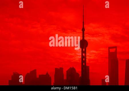 Cityscape, Skyline, sunrise, Shanghai, Chine Banque D'Images