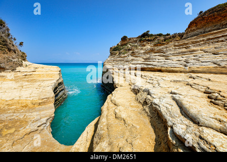 Canal d'amour à Sidari à Corfou, Grèce Banque D'Images