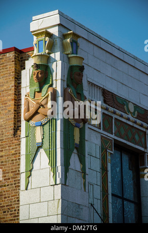Historique Le théâtre égyptien dans DeKalb, Illinois, une ville le long de la Lincoln Highway, Banque D'Images