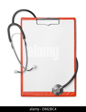 Presse-papiers rouge et stéthoscope isolated on white