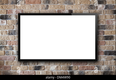 Écran de télévision sur old brick wall background Banque D'Images