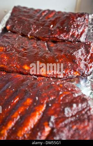 Côtes de porc BBQ Banque D'Images