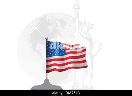 Drapeau américain sur le stand Banque D'Images