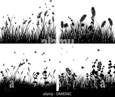 Jeu de silhouettes d'herbe Banque D'Images