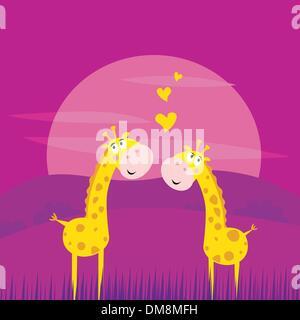Deux girafes de l'Afrique jaune dans l'amour Banque D'Images