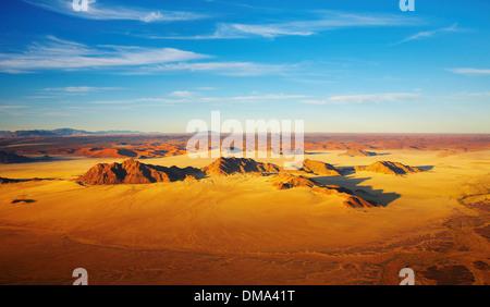 Désert du Namib, les dunes de Sossusvlei, vue aérienne Banque D'Images