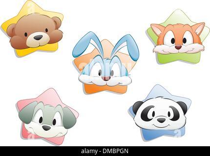Visages Animaux Cartoon Banque D'Images