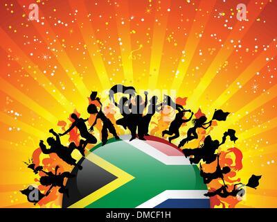 Afrique du Sud drapeau avec foule de fan de sport Banque D'Images