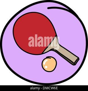 Raquette de Tennis de Table Ronde avec boule sur fond violet Banque D'Images