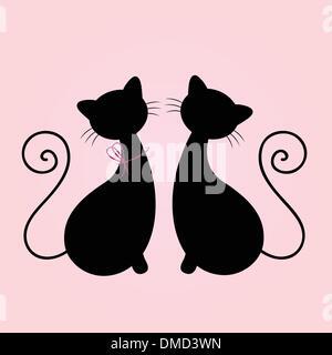 Cute Cats man, Silhouette isolé sur pink Banque D'Images