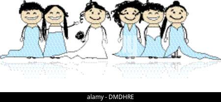 Mariée avec demoiselles pour votre conception Banque D'Images